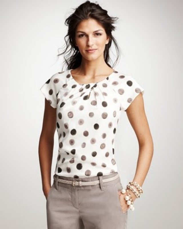 Ann Taylor scattered dot top - saved by Chic n Cheap Living