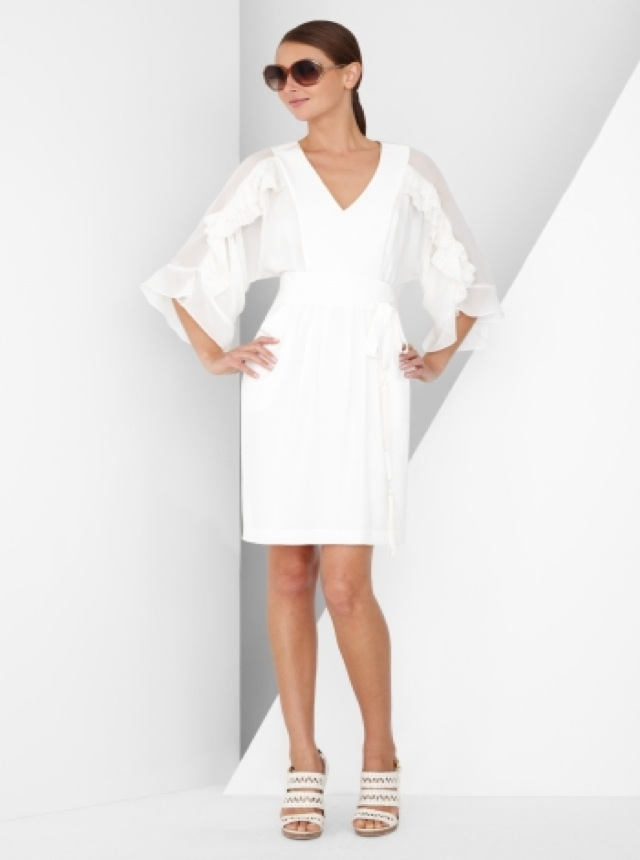lwd ls bcbg pleated sleeve silk dress-saved by Chic n Cheap Living