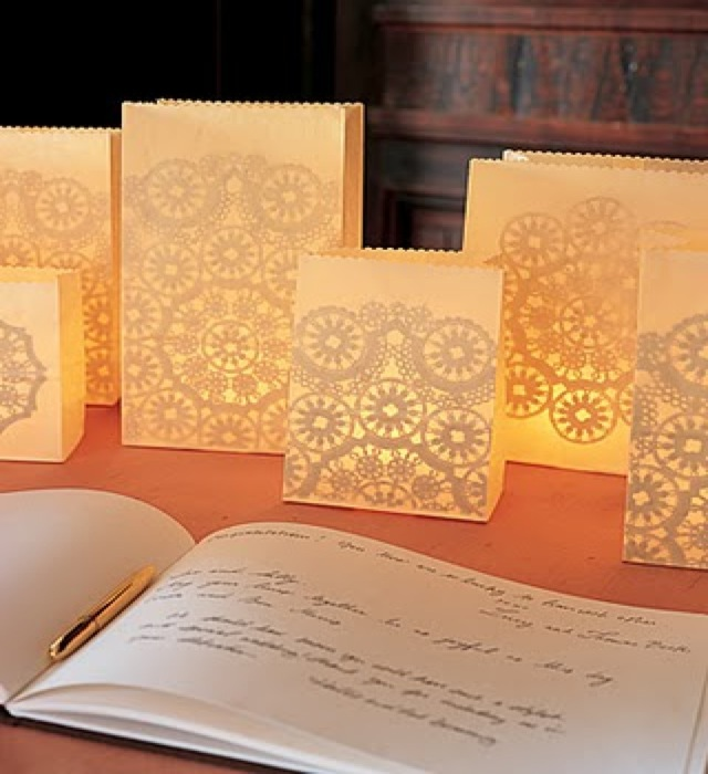 lace luminaries on Martha Stewart - saved by Chic n Cheap Living