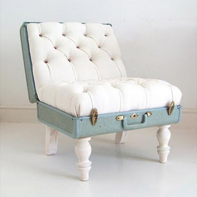 chair puffy suitcase -saved by Chic n Cheap Living