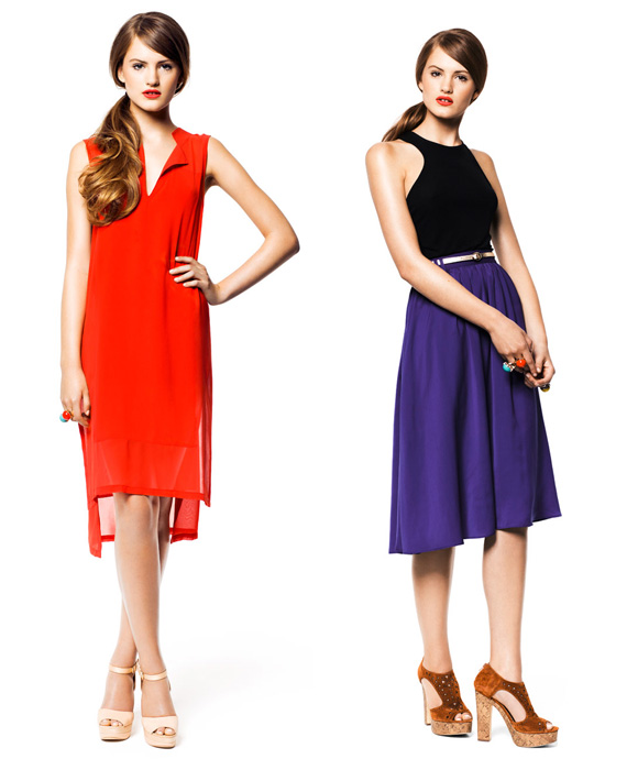 hm-summer-2011-look with orange dress and blue skirt - saved by Chic n Cheap Living
