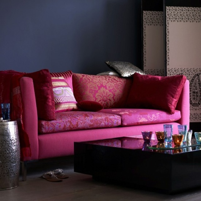 Pink And Indigo Living Room On House To Home Uk Saved By