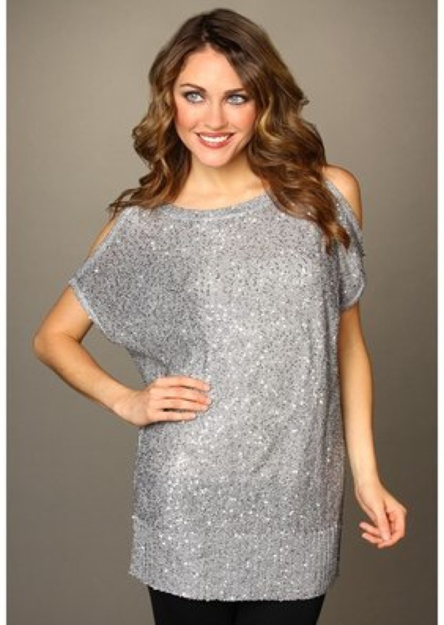 Silver DKNY cold shoulder sequin tunic on Zappos - saved ...