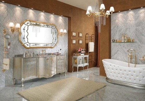 Silver bathroom with silver cabinet and walls – saved by Chic n Cheap Living