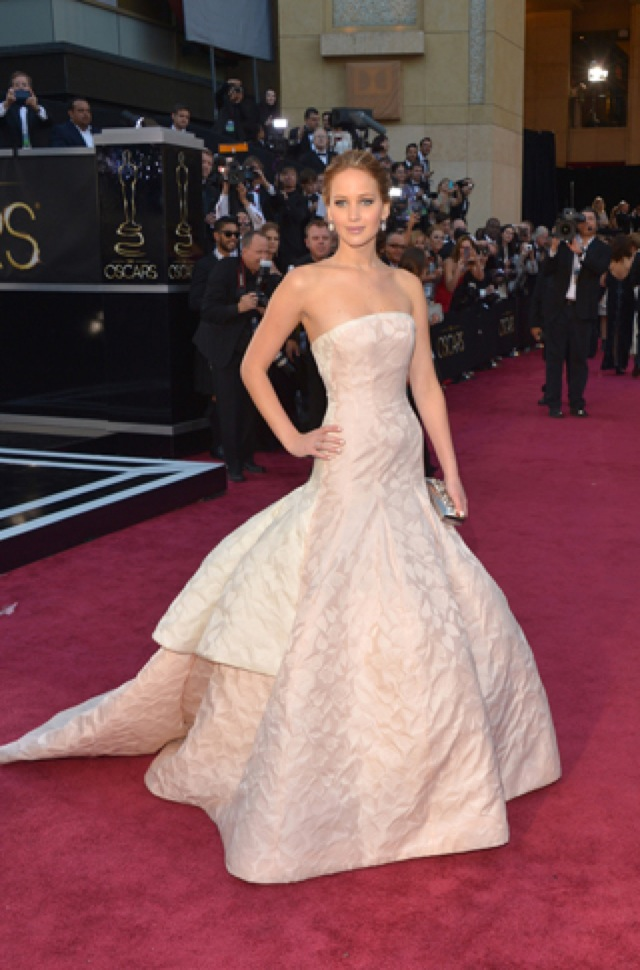 Jennifer Lawrence in Dior Couture for Oscars 2013 - saved by Chic n Cheap Living