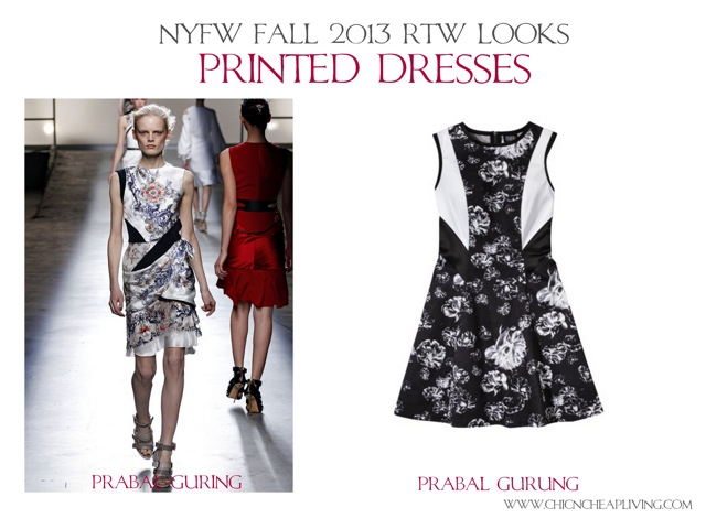 NYFW Fall 2013 RTW Printed dresses by Chic n Cheap Living