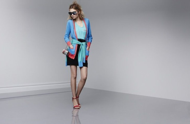 prabal-target- cardigan in dresden blue calypso coral - saved by Chic n Cheap Living