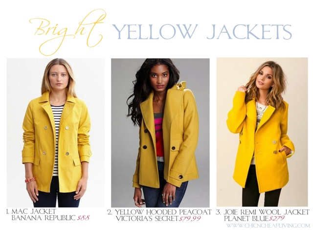 Bright yellow jackets by Chic n Cheap Living