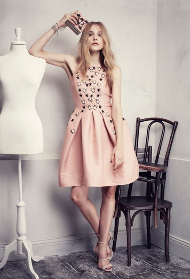 HM Conscious Partywear collection cream pink embellished dress - saved by Chic n Cheap Living