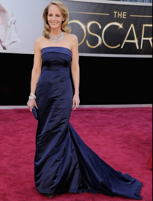 Helen Hunt in HM Conscious blue gown - saved by Chic n Cheap Living