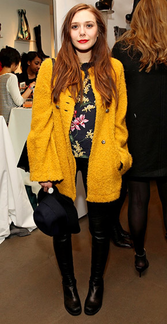 elizabeth-olsen in yellow coat on People Stylewatch - saved by Chic n Cheap Living