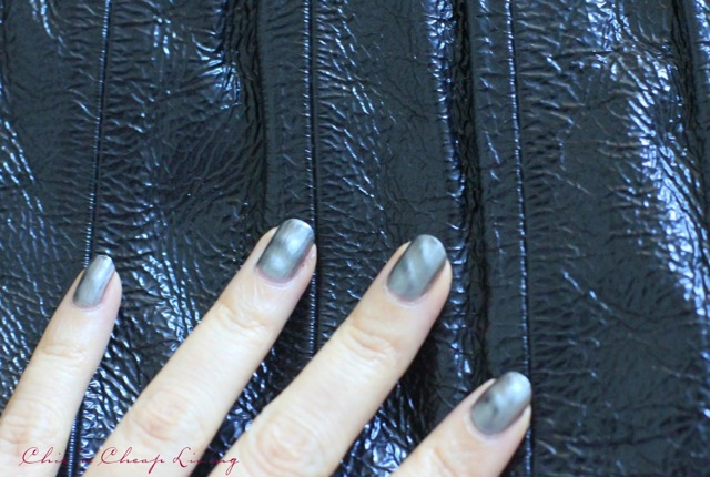 Nails Inc Wave Metallic polish in Trafalgar Square against purse- by Chic n Cheap Living