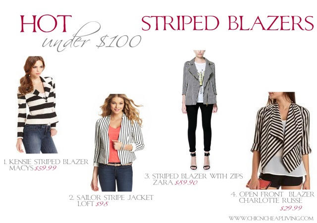 Hot under 100 Striped blazers - by Chic n Cheap Living