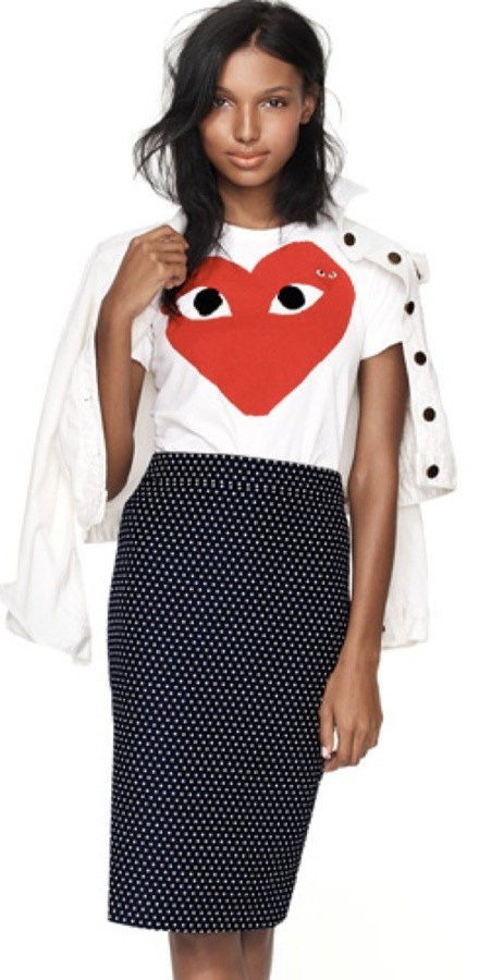 J. Crew July look with Comme des Garcons tee shirt Nolita jacket and pencil skirt in polka dot - saved by Chic n Cheap Living