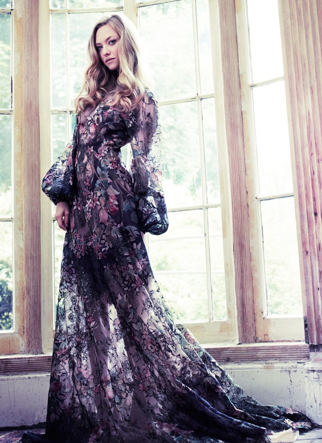 country amanda seyfried in floral gown for vanity fair