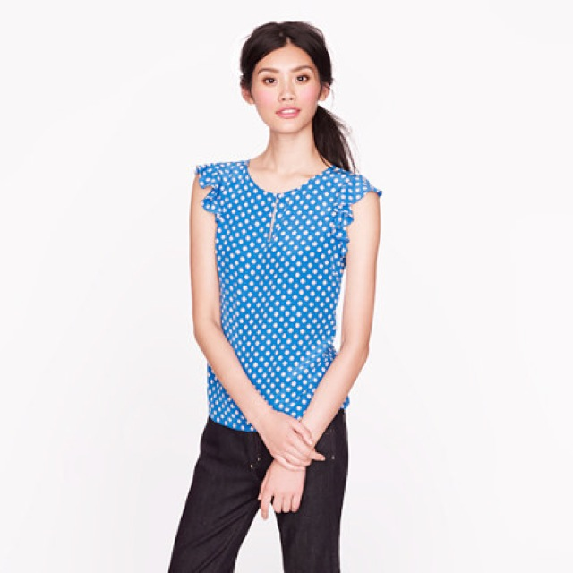 J. Crew silk flutter top in geo dot - saved by Chic n Cheap Living