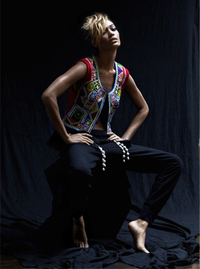 Joan SMalls for Net a Porter Edit in One Vintage vest and Theory pants - saved by Chic n Cheap Living