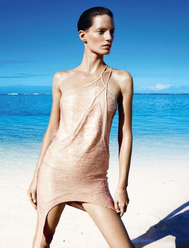 resort peach dress UK Harpers Bazaar April 2012-saved by Chic n Cheap Living