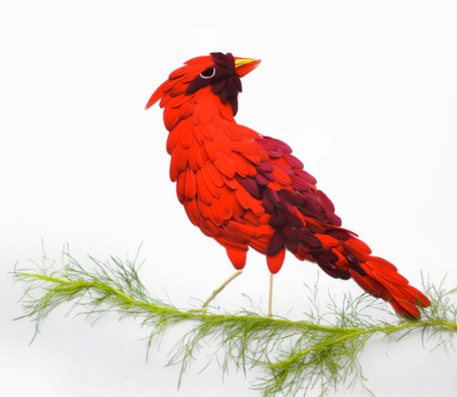 Cardinal made with flower petals by Hong Yi - saved by Chic n Cheap Living