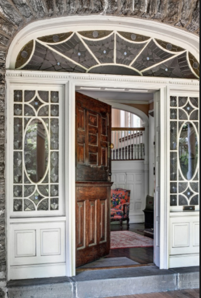 Stained glass door way in Juday home in Germantown, PA with photography by Bruce Buck for the NY Times -saved  by Chic n Cheap Living