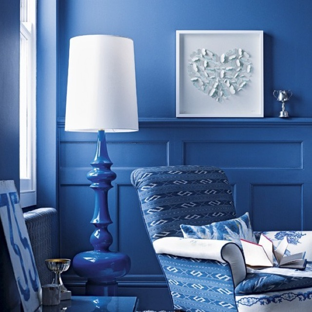blue living room on House to Home UK - saved by Chic n Cheap living