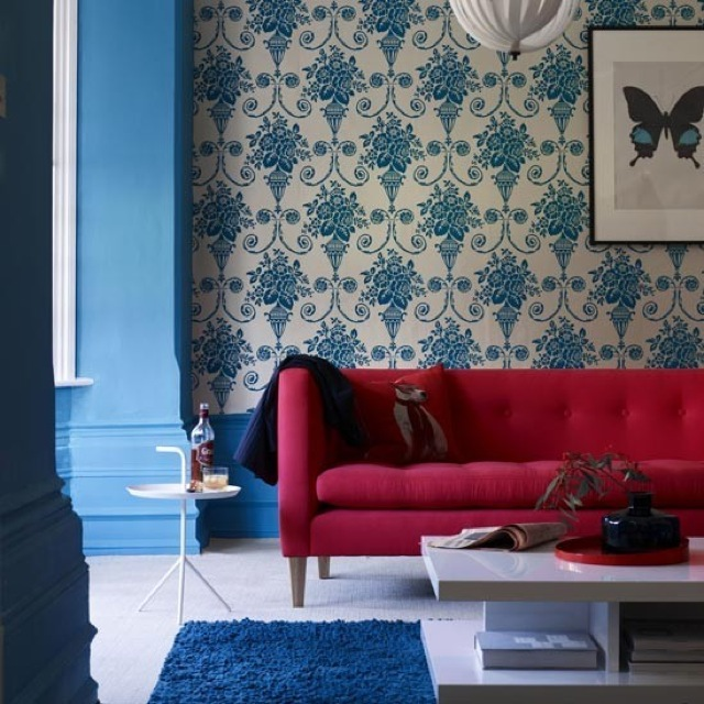 blue wallpaper statement design on house to home uk saved by chic n cheap living - House To Home Designs