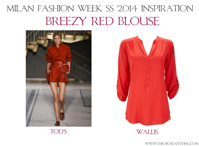 Breezy red blouse Milan Fashion Week Tod's SS 2014 - saved by Chic n Cheap Living
