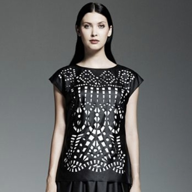 Catherine Malandrino for DesigNation Laser-Cut Fax-leather top - saved by Chic n Cheap Living