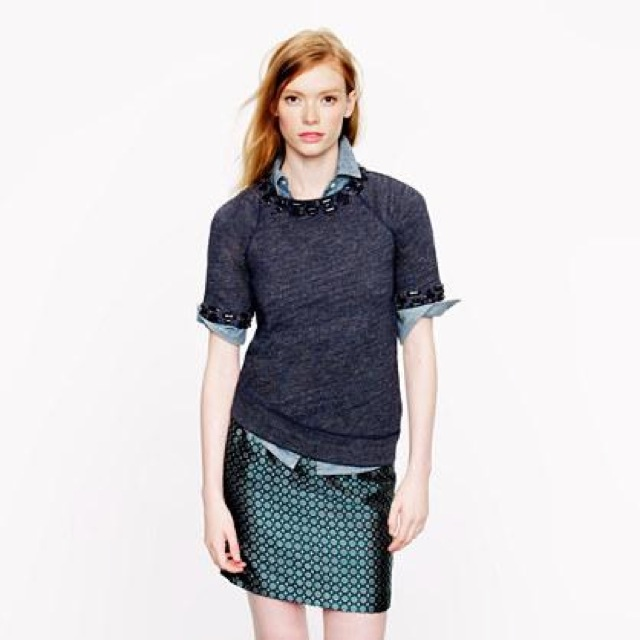 J. Crew jeweled short sleeve sweatshirt- saved by Chic n Cheap Living
