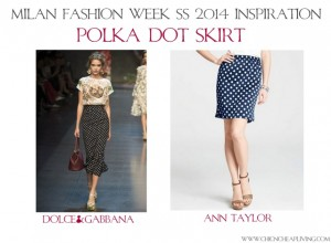 Polka dot skirt Milan Fashion Week Dolce & Gabbana SS 2014 - saved by Chic n Cheap Living