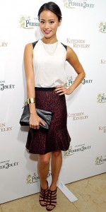 jamie-chung in Parker top and Ann Taylor leopard print skirt on People StyleWatch - saved by Chic n Cheap Living