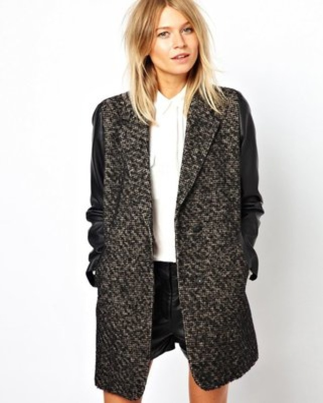 ASOS coat with leather look sleeves - saved by Chic n Cheap Living