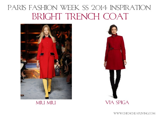 Bright trench coat Paris Fashion Week SS 2014 Inspiration by Chic n Cheap Living