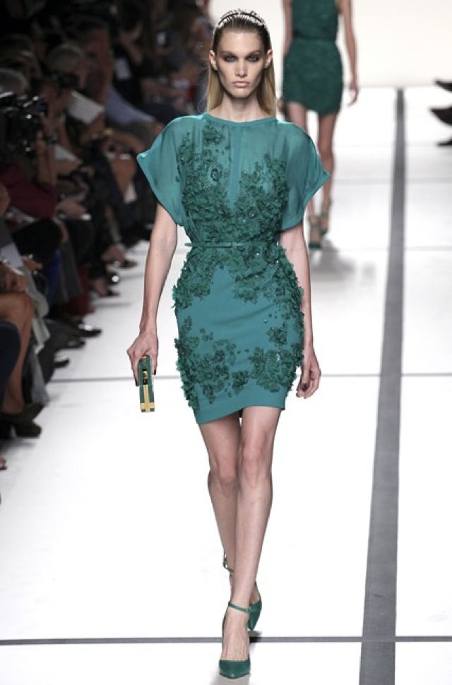 Elie Saab green chiffon and embellished dress Paris Fashion Week SS 2014 on Vogue.com - saved by Chic n Cheap Living
