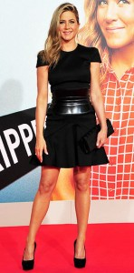 jennifer-aniston in little black dress and corset belt on People Stylewatch - saved by Chic n Cheap Living