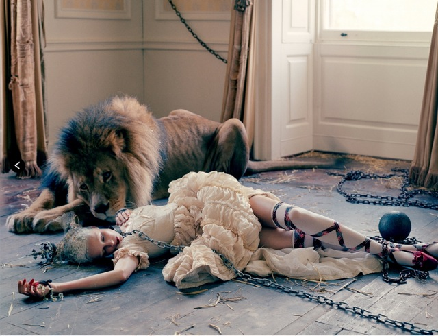 Lion King Edie Campbell and Sands films dress on floor shot by Tim walker Love no. 10 FW 13 14 - saved by Chic n Cheap Living