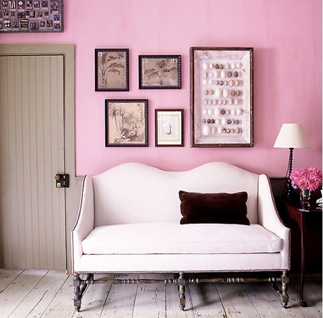 Blush wall and settee on Domain home - saved by Chic n Cheap Living ...
