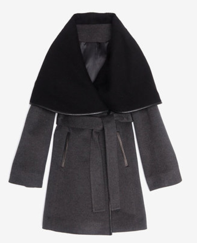 Menchi for Intermix leather trim belted wrap coat - saved by Chic n Cheap Living