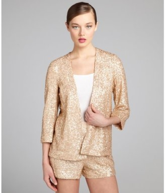 blush French Connection blush sequin open front jacket - saved by Chic n Cheap Living