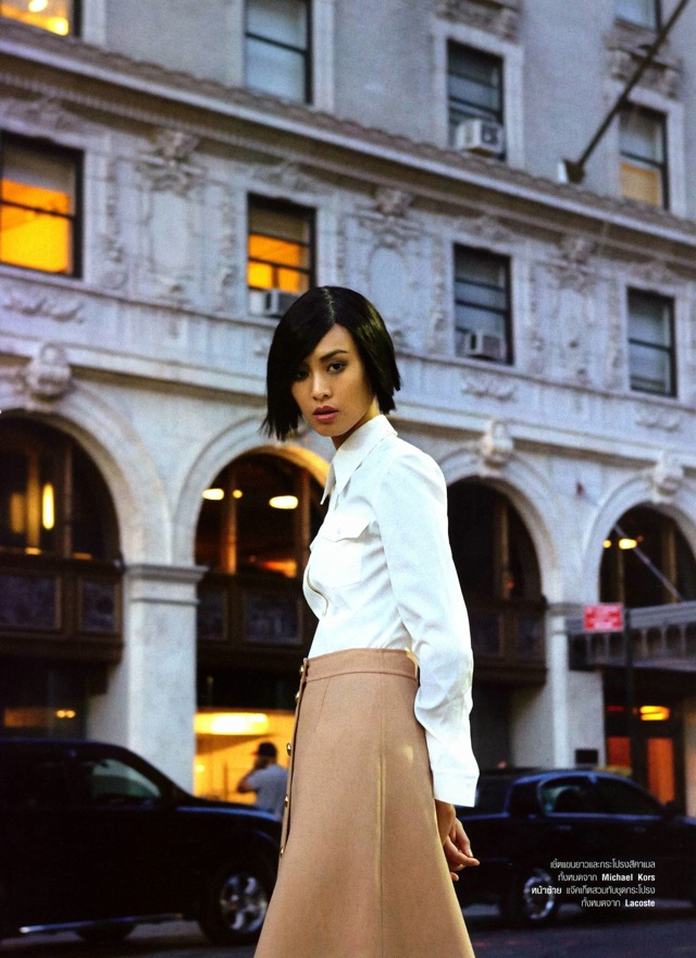 NYC outside hotel with Si Tanwiboon photographed by Mitchell Nguyen Mccormack Harper's Bazaar Thailand Jan 2014 - saved by Chic n Cheap Living