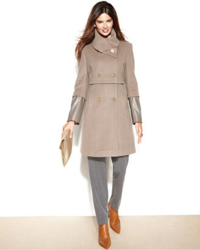 Tahari double breasted wool coat with faux leather sleeves - saved by Chic n Cheap Living
