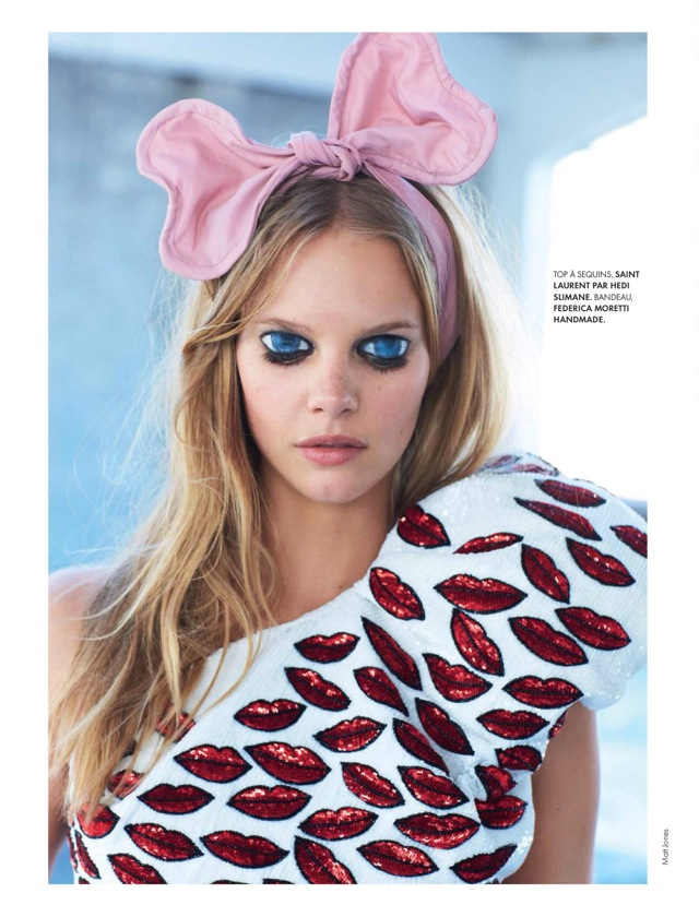 Youth Elle France December 2013 with Saint Laurent top and Federica Moretti handmade headband - saved by Chic n Cheap Living