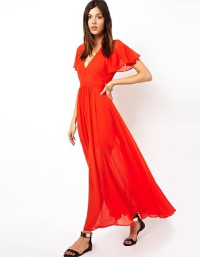 ASOS maxi dress with deep plunge and ruffle - saved by Chic n Cheap Living