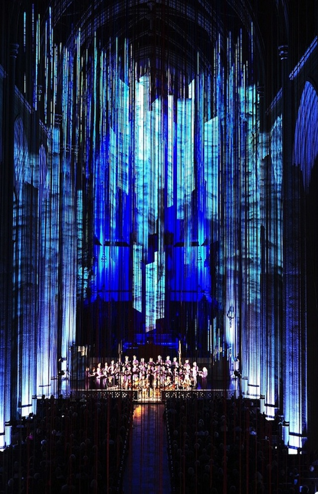 Graced-With-Light-Installation-in-San-Fransisco-Cathedral-blue light on Fubiz - saved by Chic n Cheap Living