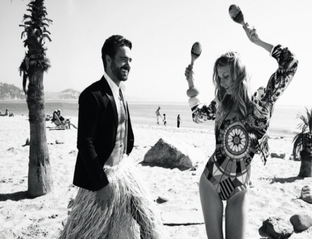 Friends Marie Claire Italy January 2014 - friend in hat with friend in tiki skirt - saved by Chic n Cheap Living