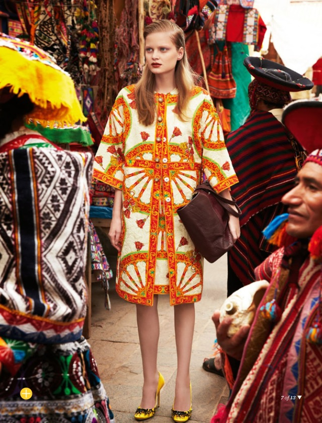 Tourist Natalia Oliveira in orange floral dress shot by Nicole Bentley in Glamour Australia March 2014 - saved by Chic n Cheap Living