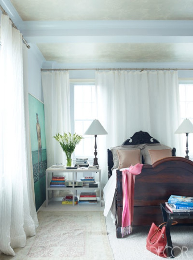 NYC Tina and Jeffrey Bolton Townhouse master bedroom by John Saladino on Elle Decor - saved by Chic n Cheap Living