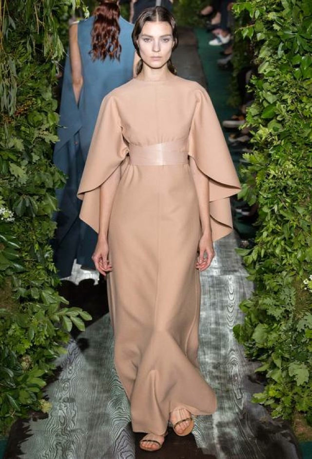 Valentino Fall 2014 beige gown with cape