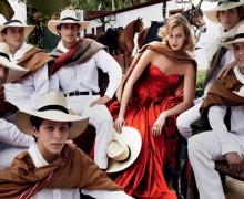 Horses Karlie Kloss in red dress Vogue September 2014