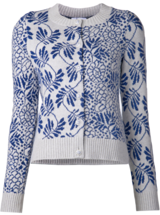 Barrie cashmere cardigan with leaf print